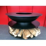 Steel Fire Pit with Grill Ring and Storage for Wood